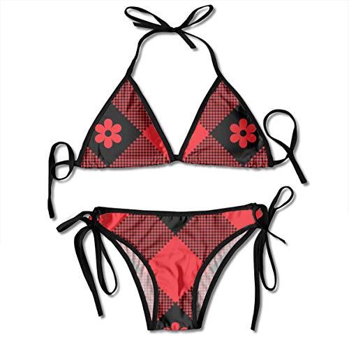 Damen Bikini Set mit Verband Floral Plaid Buffalo Check Plaid Pixel Muster Halfter Badeanzüge Zweiteiliger Badeanzug