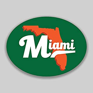 JMM Industries Miami Florida City Vinyl Decal Sticker Car Window Bumper Yeti Planner Organizer 2 Pack 4.5-Inches by 3.5-Inches Premium Quality UV Protective Laminate Green Orange PDS1599