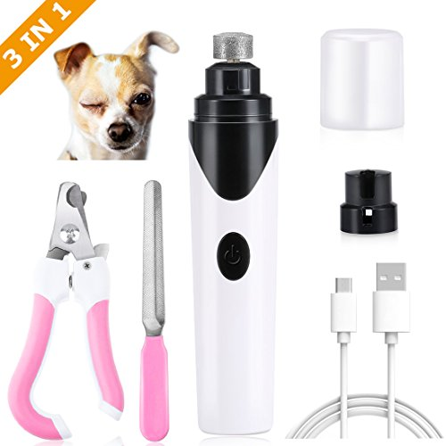 Dog Nail Grinder, Painless Ultra Quiet Pet Nail Grinder Clippers Set