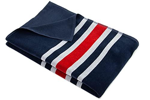ZOLLNER Toalla de Playa, 100x200 cm, algodón, Azul y Rojas y Blancas