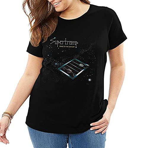 maichengxuan Supertramp - Camiseta de manga corta para mujer, talla grande, cuello redondo, cuello redondo