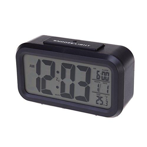 PIXNOR sensore di luce bianca LED Backlight Display LCD digitale sveglia elettronica con tempo calendario termometro Snooze (nero)