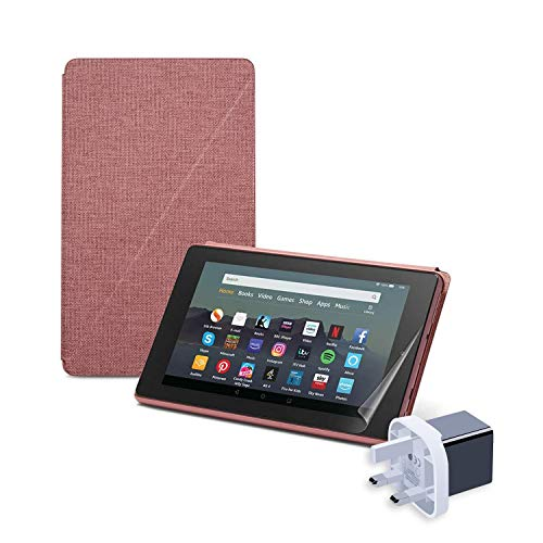 Fire HD 10 Essentials Bundle   Includes Fire HD 10 Tablet (32GB, Plum, with Ads), Amazon Standing Case (Plum), NuPro Screen Protector Kit (2-Pack), 15W USB-C Fast Charger