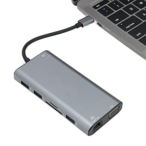 Concentrador USB C 12 En 1, VGA Hembra + Interfaz Multimedia De Alta Definición Hembra + RJ45 + USB3.0 Hembra + USB C Hembra (Transmisión De Datos, PD3.0) + Ranura Para Tarjeta De Memoria + Ranura Par