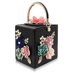 Black Crossbody Shoulder hand Bags Flower And Rhinestones