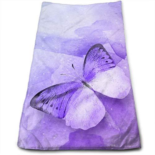 N/W lujo púrpura mariposa toallas de mano para baño 27.5 ''X 12'' suave microfibra toalla arte ombre fondo pequeño toallas de baño cocina plato toalla