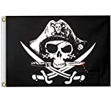 ERT Pirate Flag 3X5 Ft - Pirate Jolly Roger Flags Foot Outdoor Halloween Decorations Polyester with Brass Grommets (Dead Man's Chest)
