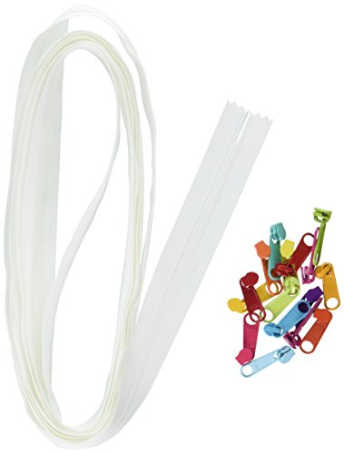 ByAnnie Zippers by Yard, White with Multicolored Pulls