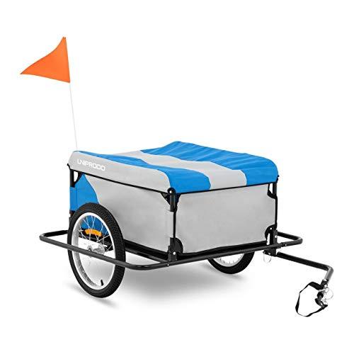 Uniprodo Uni_Trailer_06 Fahrrad-Lastenanhänger Fahrrad-Anhänger Radanhänger Lastenanhänger Fahrradanhänger Transportanhänger 50 kg Radstoßstangen Plane