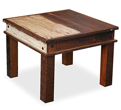 KMH®, Couchtisch/Beistelltisch Rustic im Shabby Chic/Vintage Style 60 x 60 cm aus recyceltem Sheeshamholz gefertigt (#202216)