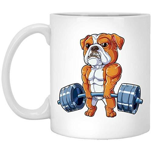 WTOMUG English Bulldog Weightlifting Coffee Mug - Funny Deadlift Fitness Gym Mug 11oz