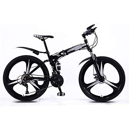 24 Pulgadas Bicicleta Bici Ciudad Plegables Adulto Hombre Mujer, Bicicleta de Montaña Btt MTB Ligero Folding Mountain City Bike Doble Suspension Bicicleta Urbana Portátil, H107ZJ