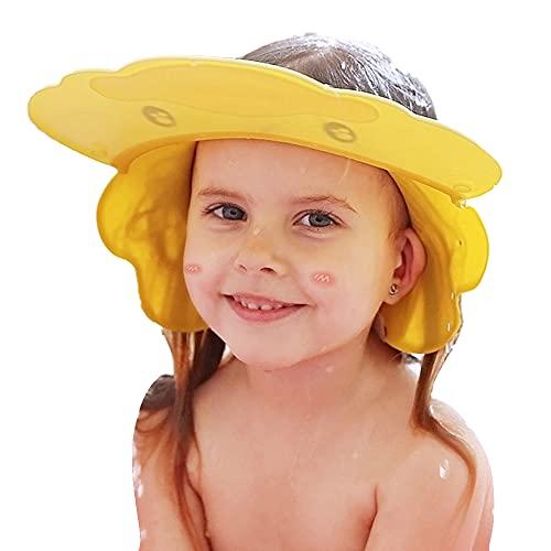 Duschhaube Kinder, Baby Einstellbare Shampoo Schutz, Bade SchüTzen Weiche Kappe, Waschen Haare Hut ohne Tränen, schön Duschkappe Haarwaschhilfe, Augenschutz, Ohrenschutz (Ente gelb)