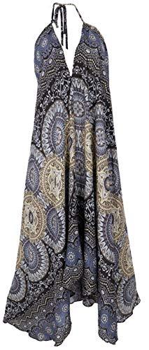GURU SHOP Sommerkleid, Magic Dress, Maxikleid, Neckholder Strandkleid, Damen, Schwarz, Synthetisch, Size:40, Lange & Midi-Kleider Alternative Bekleidung