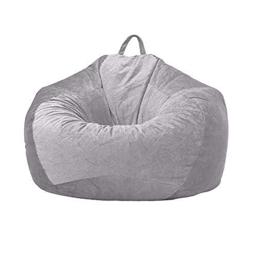 Funda gigante de terciopelo suave para adultos y niños sin relleno, cubierta de puffe para sala de estar, para silla grande de sala de estar interior y exterior, gris S-60 x 70 cm