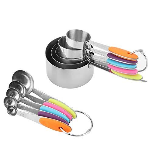 Leku Tazas medidoras - 10 Tazas y cucharas medidoras Herramienta de Cocina de Acero Inoxidable Cucharadita para Hornear