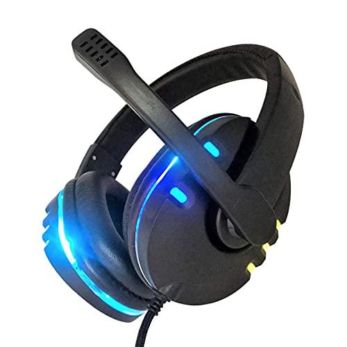 Auriculares para videojuegos con micrófono con cancelación de ruido y luz LED, compatible con PC, PS4, PS5, Switch, Xbox One, tablet, portátil, smartphone, oficina, Skype, clase de red (negro + LED)