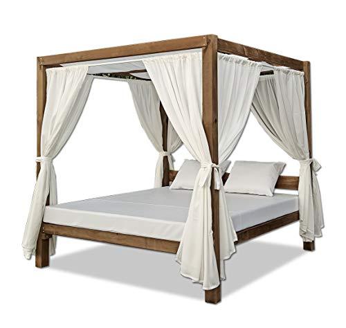 Luxury Furniture- Cama Balinesa para Exterior de Madera Color Nogal 200 x 200 x 200 CMT.