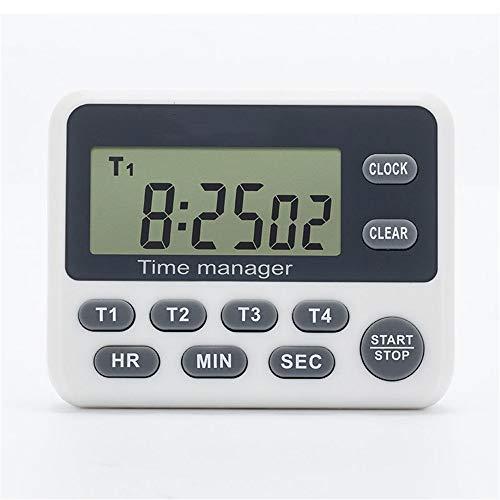 Jtoony Digitale keukentimer met groot beeldscherm, timer, koken, leren, slapen, countdown, wekker voor het koken of office-wit, digitale keukentimer