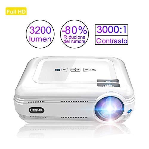 Proyector de Vídeo, LESHP LED Proyector Portátil Full HD 1080p proyector para Home Cinema (Altavoz Incorporado, con USB/ HDMI/ VGA/ AV, para PC Computadora Xbox) (Blanco 3200 lumen)