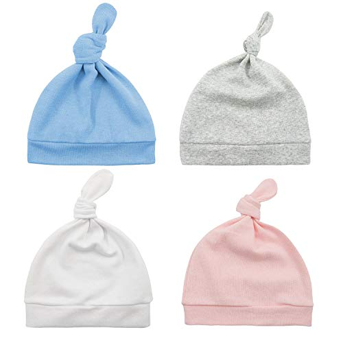 Zando Baby Hats Cute Newborn Beanies Soft Knotted Cap Gifts for Baby Boys Girls All Seasons Beanie Hat D Grey White Pink Blue / 0-6 M