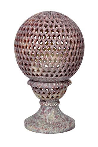 Hashcart Teelichthalter aus Speckstein, handgefertigt, mit Schnitzerei, 17,8 cm