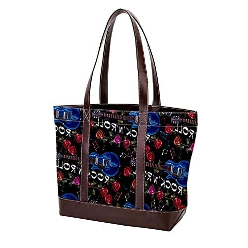 NaiiaN Rockmusik Bassgitarre Instrument Rose Blume für Mutter Frauen Mädchen Damen Student Leichte Riemen Geldbörse Shopping Umhängetaschen Handtaschen Tragetasche