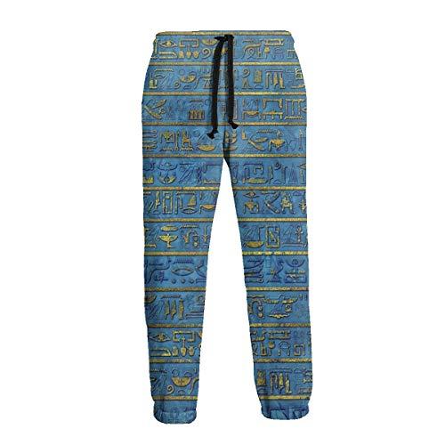 QUEMIN Pantalones Deportivos para Hombre con jeroglíficos egipcios egipcios Dorados y Azules, cómodos Pantalones Deportivos con Bolsillos 2XL