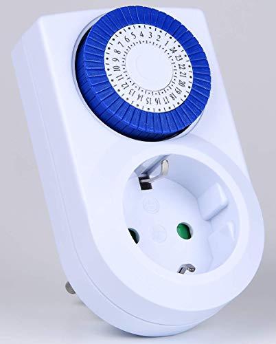 HEITECH Minuterie avec sécurité enfants - minuterie mécanique homologuée TÜV & GS jusqu'à max. 16A & 3500W - 48 segments de commutation de 30 min chacun - prise minuterie