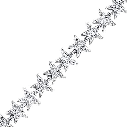 SLV 3/4CT. T.W. Round Cut Sim Clear Diamond Star Link Bracelet For Womens Girls In 925 Sterling Silver