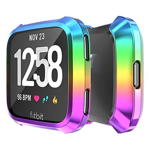 Screen Protector Case for Fitbit Versa, Haojavo Soft TPU Slim Fit Full Cover Screen Protector for Fitbit Versa Smartwatch Bands Accessories