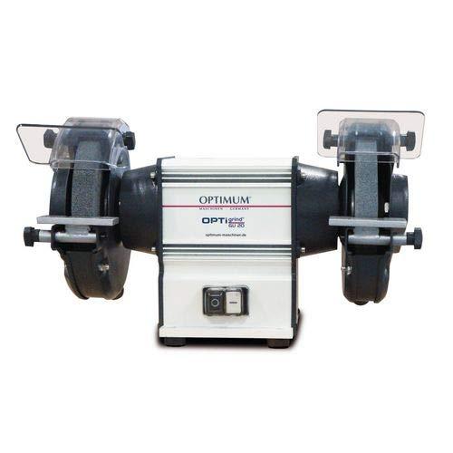 Optimum Doppelschleifmaschine OPTIgrind GU 18 (2 Schleifscheiben fein+grob, Funkenschutz, wartungsfreier Motor), 3101510