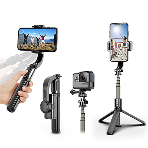 Selfie Stick Gimbal Stabilizer, UPXON 360° Rotation Tripod with Wireless Remote, Portable Phone Holder, Auto Balance 1-Axis Gimbal for Smartphones Tiktok Vlog Youtuber Live Video Record