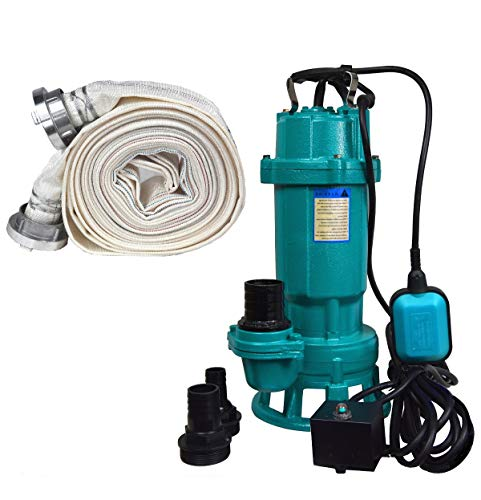 Bomba de aguas residuales + manguera de bomberos de 20 metros, bomba de aguas residuales 550 W 15000 L/h, bomba sumergible, interruptor de flotador