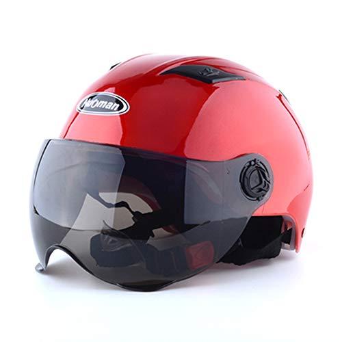 HDJX Motorradhelm Männer und Frauen Batterie Auto Vier Jahreszeiten Anti-Fog-Doppelspiegel Halbsturzhelm Sommer und Winter warm Vollschutz Sicherheit-3
