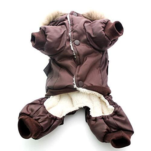DZSHYXGW Huisdier Kleding Winter Warm Hond Gewatteerde Hooded Jassen Vier Benen Jumpsuit Broek Kleding Jassen Air Force Size Xs-Xl, M, BRON