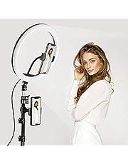 TAOCOCO LEDリングライト 外徑30cm/12in 撮影用ライト 美顔 自撮りライト 3色モード付き 角度調整 撮影照明用ライト 卓上ライト リモコン 高輝度LED スマホスタンド付き 10段階調光 美容化粧/YouTube生放送/ビデオカメラ撮影用 USB給電