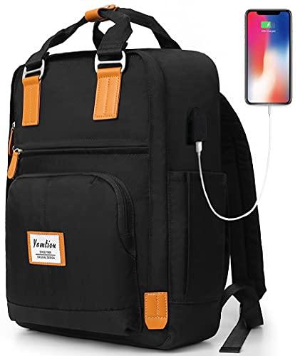 YAMTION Zaino Scuola Superiore Zaino Porta PC per Laptop 15,6 Pollici,Zaino Lavoro Borsa da Scuola con Porta USB Daypack per università