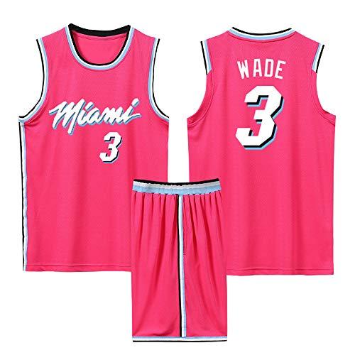 Camiseta De Baloncesto para Hombre Miami Heat #3 Wade, Camiseta Sin Mangas Y Pantalones Cortos Unisex Baloncesto City Edition, Trajes De Competición Deportiva Aire Libre,Rosado,M