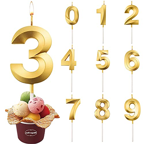 Bougies Numéro, Bougies D anniversaire Or, Bougies de Gâteau, Convient Pour Les Anniversaires, Les Anniversaires De Mariage, Les Cérémonies De Remise Des Diplômes (Numéro 3)