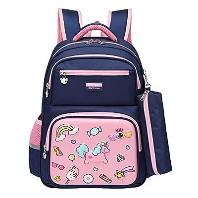 Mochila para Niños, Mochila para Niñas Unicornio Mochilas Escolares Primaria con Caja de lápiz Capacidad Grande Carteras Escolares para Muchachos Chicas(Azul Rosa)