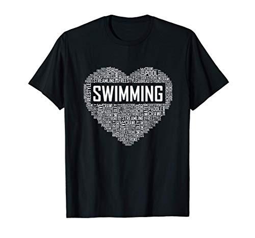 Nuoto cuore allenatore nuotatore allenatore nuotatore regalo Maglietta