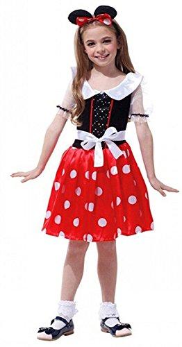 Inception Pro Infinite Taglia L - 6 - 7 Anni - Costume - Travestimento - Carnevale - Halloween - Topo - Topolina - Minnie Mouse - Colore Rosso - Bambina