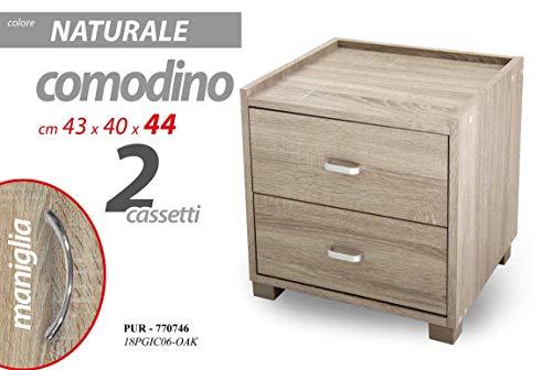 GICOS IMPORT EXPORT SRL Mobile Comodino comò in Legno con 2 cassetti Colore Naturale 43 * 40 * 44 cm TCC-770746