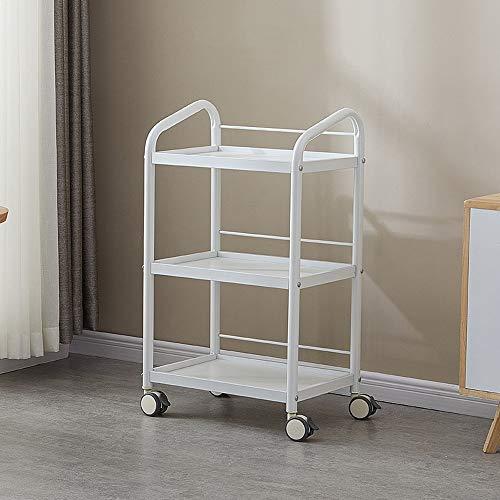 HF trolley, draagbaar, gereedschapskar met 3 lagen, 360 graden draaibaar, zwenkwiel, ijzer, vintage trolley voor barber shop, beauty, SPA goede last wit