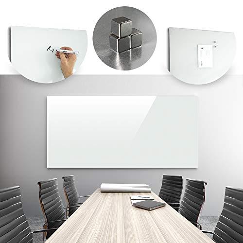 Glasmagnettafel in reinem Weiß   rahmenloses Magnetboard   Whiteboard aus TÜV-zertifiziertem Glas magnetisch & beschreibbar   einfache Montage mit Bohrschablone   7 Größen (120x180 cm) - 2