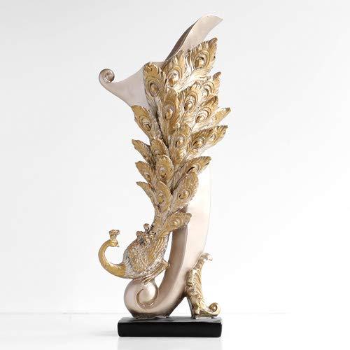 JIAXIN Esculturas Decorativas Florero Decoración Hogar Resina Flores De Pavo Real Florero...