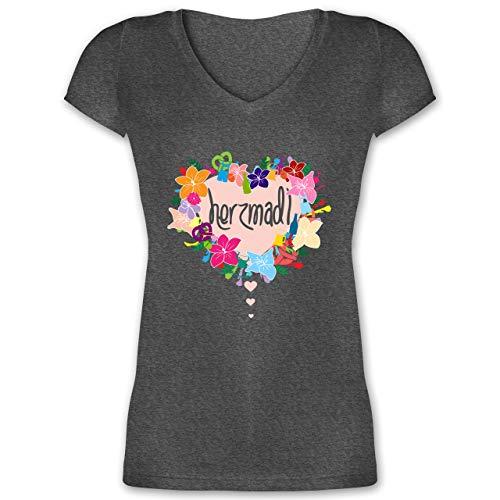 Oktoberfest Damen - Herzmadl - M - Anthrazit meliert - luis trenker Shirt - XO1525 - Damen T-Shirt mit V-Ausschnitt