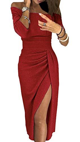BOLAWOO Aftonklänningar damer långt mode elegant festlig klänning fest lång mode märken ärm ord krage axelbandslös smal öppen gaffel cocktailklänning balklänning, Vinröd, L