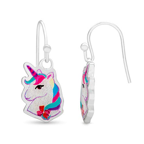 Jojo Siwa Unicorn Jewelry for Girls, Silver Plated Dangle Charm Earrings